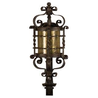 Forged Iron Wall Lantern, Glass Shade, France c. 1940