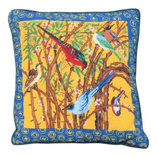 Vintage Birds Needlepoint Pillow