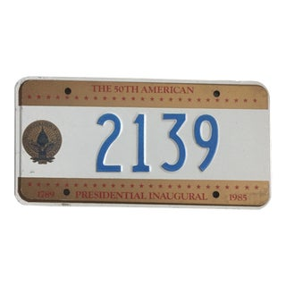 Presidential Inauguration License Plate 1985