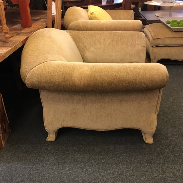 Two upholstered roll arm chairs ottoman chairish