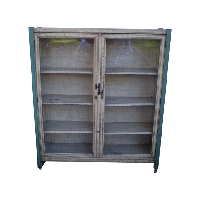 Crackle Finish Glass Door Cabinet - Image 1 of 4