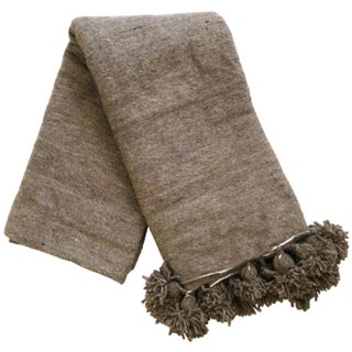 Brown Moroccan Pom Pom Wool Blanket