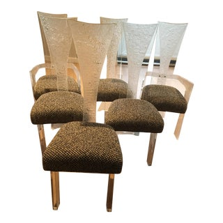 Vintage Lucite High Backed Dining Chairs - Set of 6