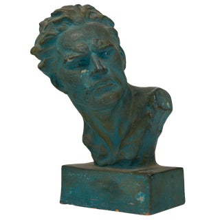 French Vintage Terra Cotta Bust of Jean Mermoz