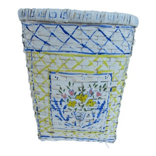 Vintage Hand-Painted Blue & White Basket