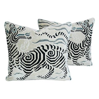 Custom Tailored Clarence House Dragon Fabric Feather/Down Pillows - Pair