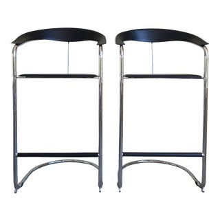 Modern Bar Stools In The Style of Anton Lorenz for Thonet- A Pair