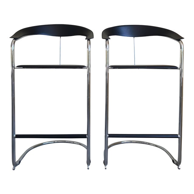 Modern Bar Stools In The Style of Anton Lorenz for Thonet- A Pair - Image 1 of 11