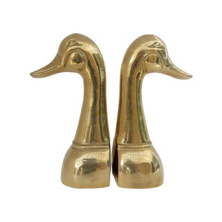 Tall Duck Head Brass Bookends - Pair