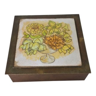Vintage Handmade Copper Box with Copper Enamel Top