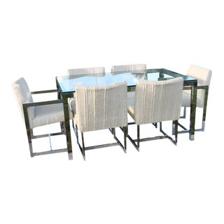 Milo Baughman for Dia Mid-Century Chrome Table & Chairs Dining Set - Set of 7