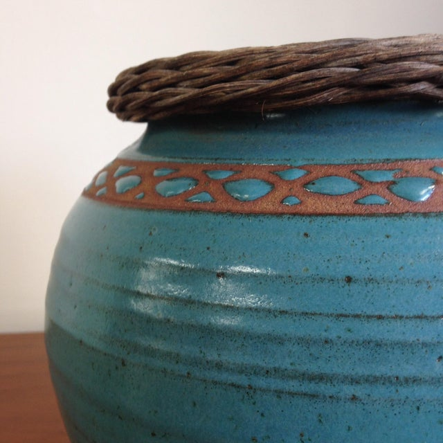 Weaved Wood And Teal Ceramic Vessel - Image 5 of 7