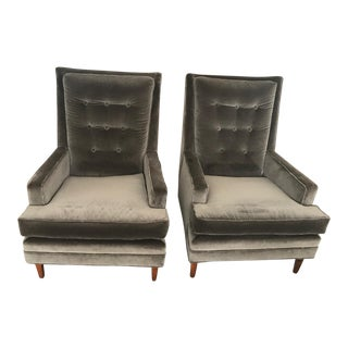 Mid-Century Tufted Charcoal Velet Club Chairs - a Pair