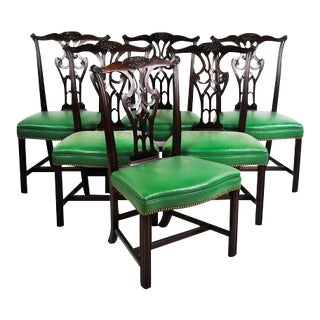 Green Vinyl Upholstered Chippendale Dining Chairs - Set of 6