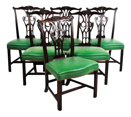 Green Vinyl Upholstered Chippendale Dining Chairs   Set Of 6   Image 1 Of 10