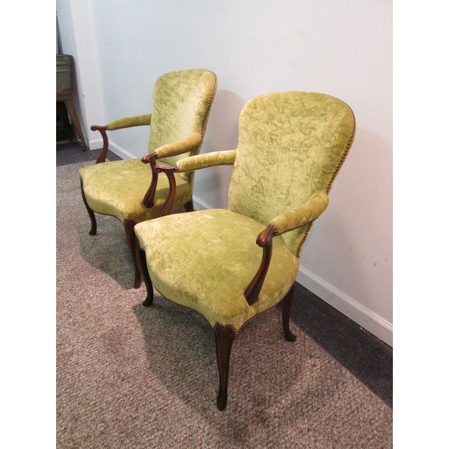 Matching Upholstered French Arm Chairs - Pair - Image 3 of 11