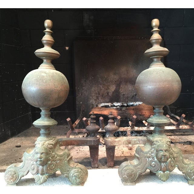 French Antique Brass Andirons - Image 5 of 6
