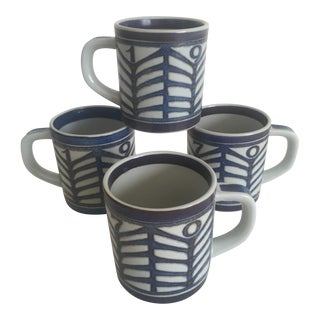 1970 Dolte Schierup Royal Copenhagen Fajance Porcelain Mugs- Set of 4