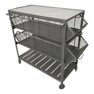 Industrial Metal Marble-Top Basket Trolley on Wheels
