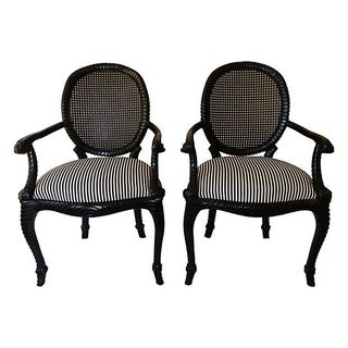 Rope-Style Cane Back Armchairs - A Pair