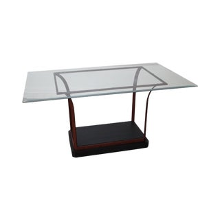 Design Institute of America Iron Base Glass Top Dining Table
