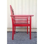 Image of Slatted Outdoor Set with Fresh Red Paint