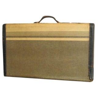 Vintage Striped Tweed Suitcase Circa 1940