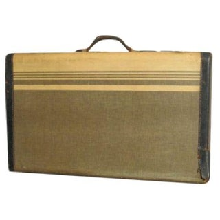 Vintage Striped Tweed Suitcase Circa 1940