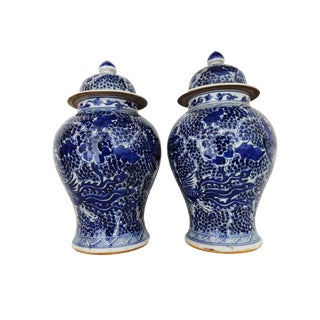 Blue & White Pheonix Motif Ginger Jars - A Pair