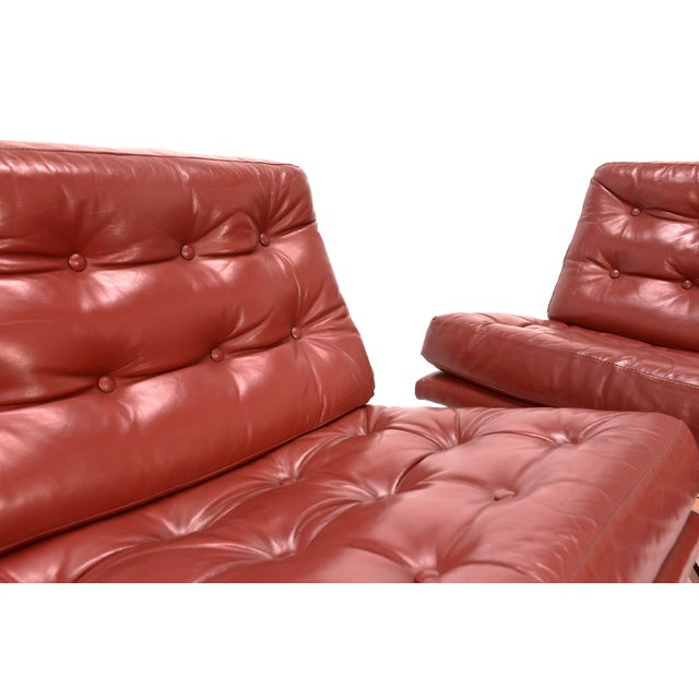 Founders Leather & Bronze Lounge Chairs - A Pair - Image 4 of 7