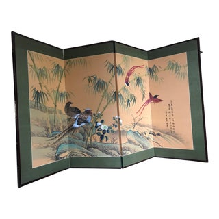 Oriental Silk Screen With Birds