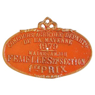 1979 De La Mayenne French Trophy Award Plaque
