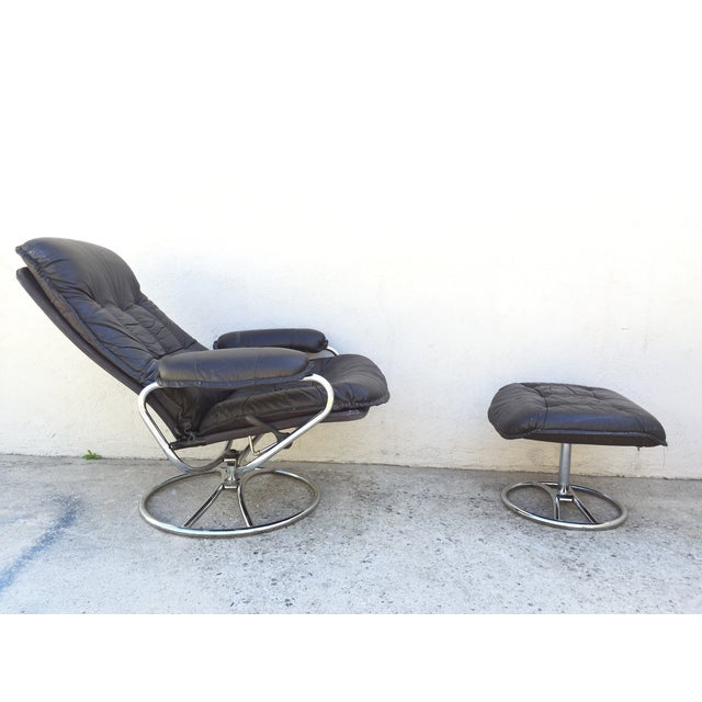 Mid-Century Italian Leather Chair and Ottoman - Image 7 of 11