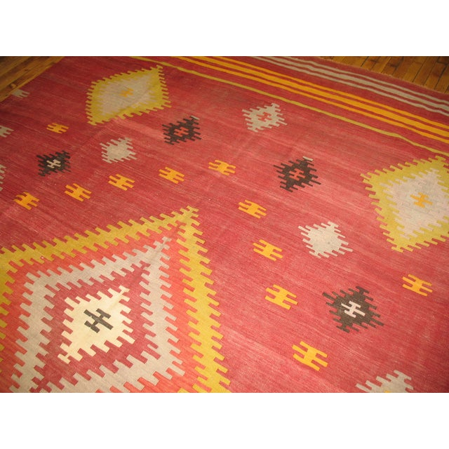 Vintage Red & Yellow Kilim Rug - 8'8'' X 11'8'' - Image 4 of 6