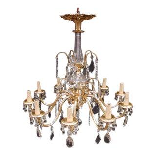 10-Arm Brass & Crystal Chandelier