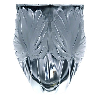 "Lalique ""Palm Fronds"" Crystal Vase"