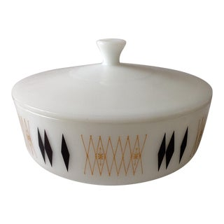 Mid-Century Modern Milk Glass Lidded Casserole