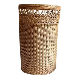 Tall Vintage Wicker Woven Basket