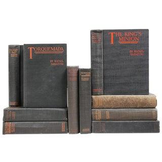 1920's & 1930's Charcoal & Orange Mixed Books: Rafael Sabatini - Set of 10