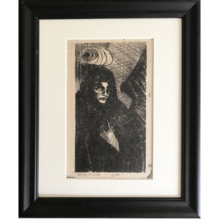 Vintage Expressionist Lithograph of an Angel in Black by James Angier