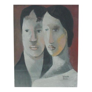 Double Portrait, Signed Bela Kadar