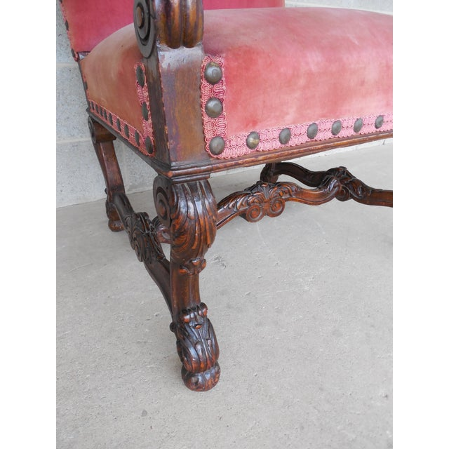 Vintage Carved Gothic Renaissance Style Arm Chair - Image 10 of 11