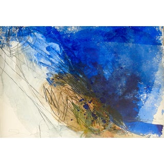 Abstract Mixed Media Painting in Blue by George Turner