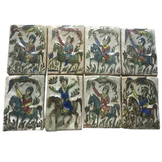 Antique Persian Tile Collection Qajar Period 19th Century Set of 8
