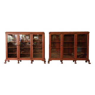 Vintage Mahogany Triple Bookcases - A Pair