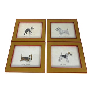 Framed Pen & Ink Dog Watercolors - Set of 4