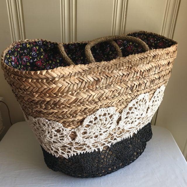 Large Boho Lined Jute Market Basket - Image 8 of 8