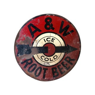 Vintage 1950s A&W Rootbeer Metal Sign