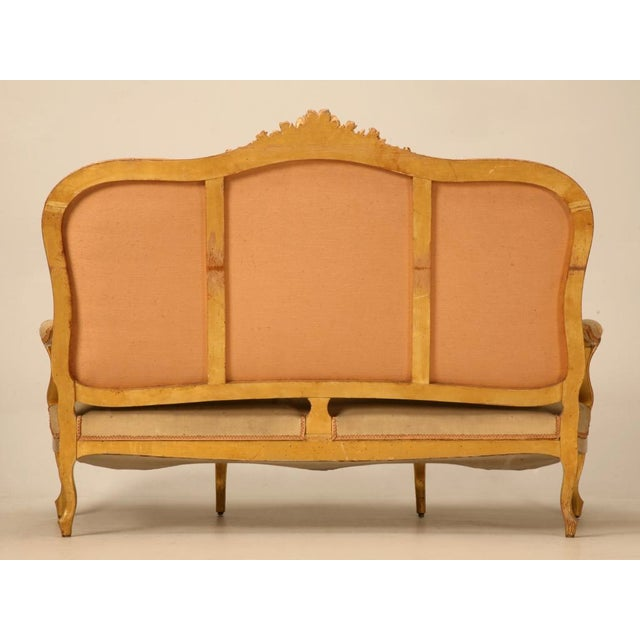 Antique French Gilded Louis XV Style Settee - Image 9 of 10