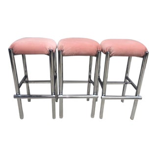 Blush Velvet & Chrome Bar Stools - Set of 3